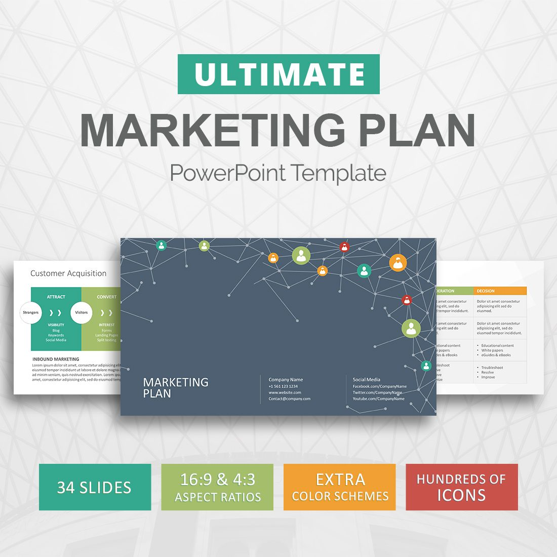 marketing plan powerpoint template - marketing strategy - slideson, Modern powerpoint