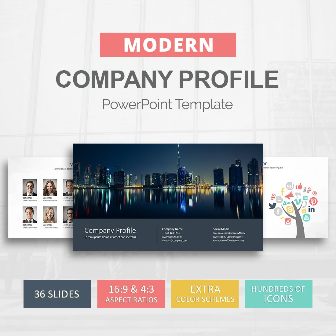 2a1e98d96 Company Profile PowerPoint Template - Presentation Templates - Slideson