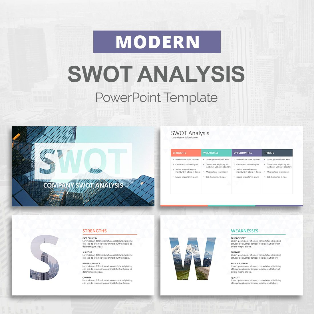 swot analysis powerpoint template slideson