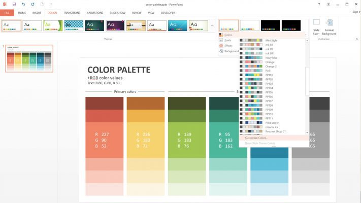 Edit color palette